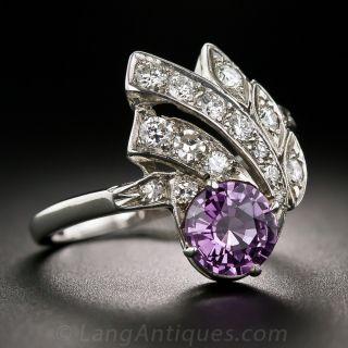 Mid-Century 1.35 Carat Purple Sapphire and Diamond Spray Ring
