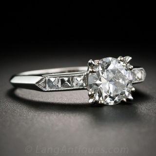 Mid-Century 1.56 Carat European-Cut Diamond Engagement Ring - GIA