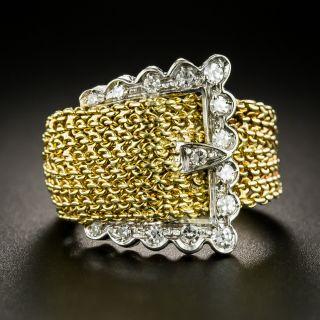 Mid-Century 18K Diamond Buckle Ring - 2