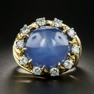 Mid-Century 33 Carat Star Sapphire Diamond Ring