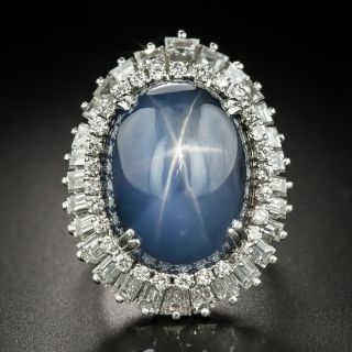 Mid-Century 45 Carat Star Sapphire and Baguette Diamond Ring-Dant by Palais - 2