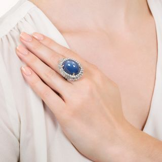 Mid-Century 45 Carat Star Sapphire and Baguette Diamond Ring-Dant by Palais