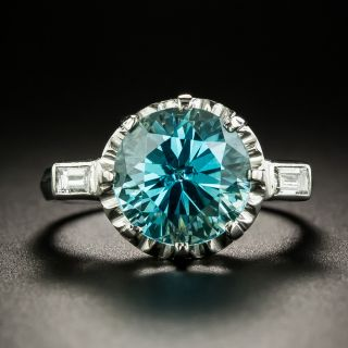 Mid-Century 5.00 Carat Zircon and Diamond Ring - 2