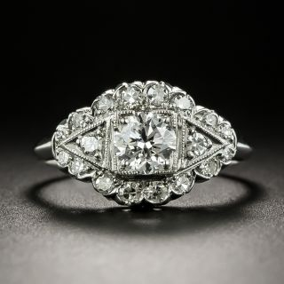 Mid-Century .51 Carat Diamond Engagement Ring - GIA E SI1 - 3