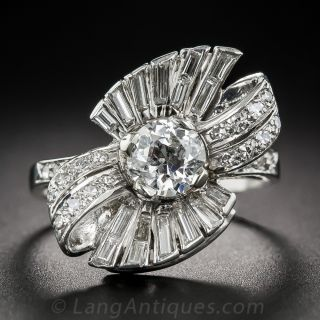 Mid-Century .80 Carat Diamond Bow Motif Ring - 2