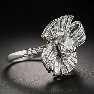 Mid-Century .80 Carat Diamond Bow Motif Ring