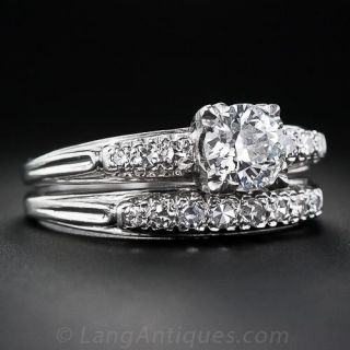 Mid-Century .90 Carat Diamond Wedding Band Set