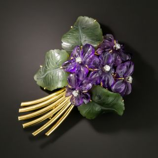 Mid-Century Amethyst and Nephrite Jade Floral Spray Brooch - 2
