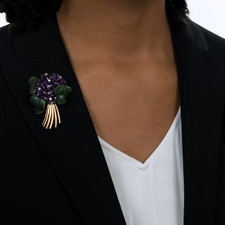 Mid-Century Amethyst and Nephrite Jade Floral Spray Brooch