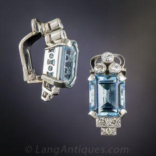 Mid-Century Aquamarine and Diamond Earrings