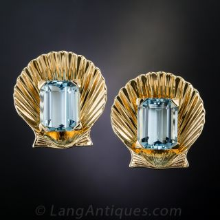 Mid-Century Aquamarine Shell Earrings - 1
