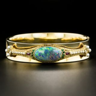 Mid-Century Bangle with Exotic Art Deco Black Opal Overlay - 3
