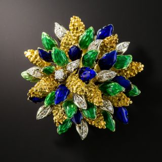Mid-Century Blue and Green Enamel and Diamond Leaf Brooch