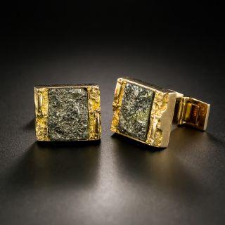 Mid-Century Brutalist Pyrite Cufflinks by Bjorn Weckstrom  - 2