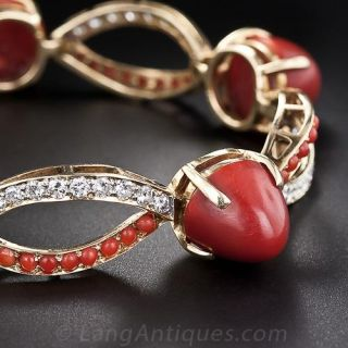 Mid-Century Coral, Diamond and Gold Bracelet