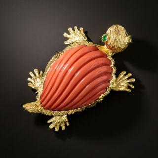 Mid-Century Coral Turtle Brooch