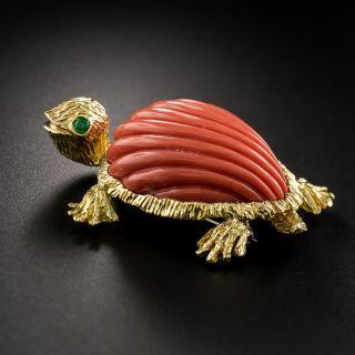 Mid-Century Coral Turtle Brooch - 4