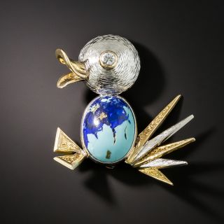 Mid Century Diamond and Turquoise/Azurite Duck Brooch - 2