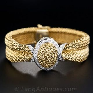 Mid-Century Diamond Bracelet Watch  - 1