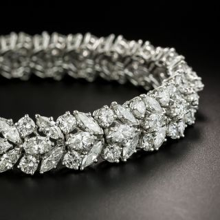 Mid-Century Diamond Platinum Dress Bracelet - 4
