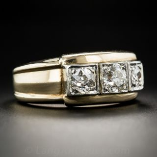 Mid-Century Diamond Three-Stone Ring