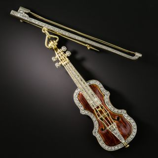 Mid-Century Enamel and Diamond Violin & Bow Brooch - 2