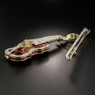 Mid-Century Enamel and Diamond Violin & Bow Brooch