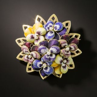 Mid-Century Flower Enamel Pin  - 2