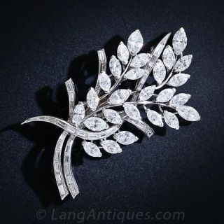 Mid-Century Foliate Bouquet Diamond Brooch  - 1