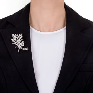 Mid-Century Foliate Bouquet Diamond Brooch