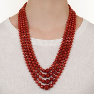 Mid-Century Four-Strand Coral Necklace