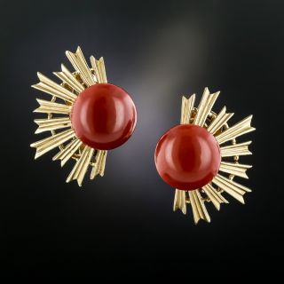 Mid-Century Gem Red Coral Spray Clip Earrings