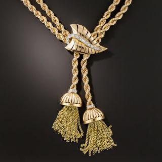 Mid-Century Gold Diamond Tassel Necklace  - 2