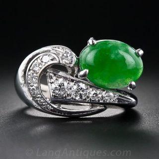 Mid-Century Jade and Diamond Ring