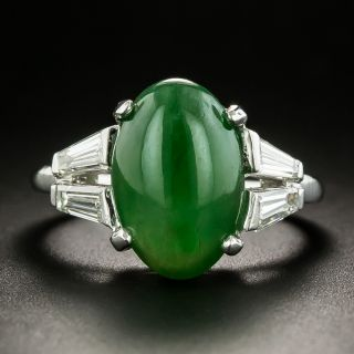 Mid-Century Jade Cabochon and Diamond Ring - 2