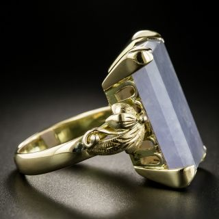Mid-Century Large Natural Burmese Lavender Jade Ring