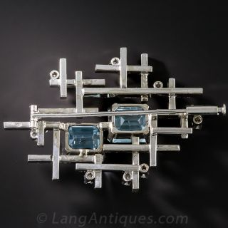 Mid-Century Modern Aquamarine and Diamond Brooch
