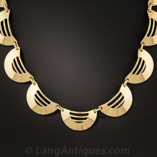 Mid-Century Modern Gold Necklace