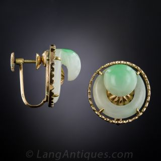 Mid-Century Natural Burmese Jade Earrings