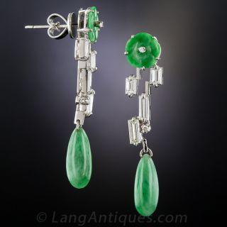 Mid-Century Natural Jade and Diamond Drop Earrings