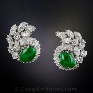 Mid-Century Natural Jade and Diamond Earrings - 1