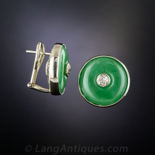Mid-Century Natural Jade and Diamond Earrings