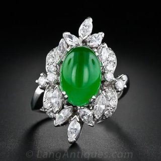 Mid-Century Natural Jade and Diamond Ring