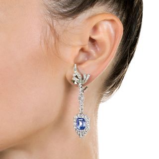 Mid-Century No-Heat Ceylon Sapphire and Diamond Drop Earrings