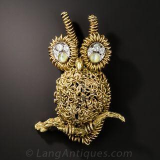Mid-Century Owl Brooch