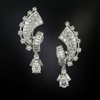 Mid-Century Pear Shape Diamond Dangle Earrings - 2