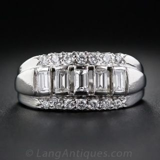 Mid-Century Platinum and Diamond Band Ring