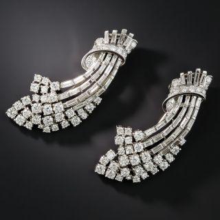 Mid-Century Platinum and Diamond Double Clips - 1