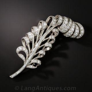 Mid-Century Platinum and Diamond Feather Brooch