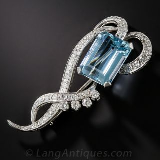 Mid-Century Aquamarine, Platinum and Diamond Brooch - 2